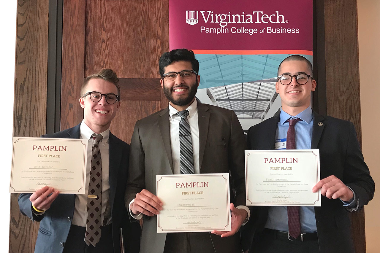 ISE undergraduate students won first place in Pamplin Multicultural Diversity Case Competition (from left): Louie Buchen, Mohammed Ali, Felipe Matamoros.