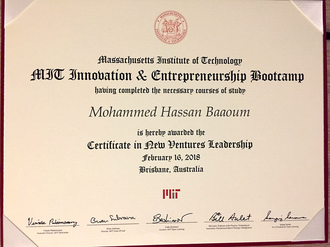 Mohammed Baaoum's first place certificate from MIT Innovation & Entrepreneurship Bootcamp