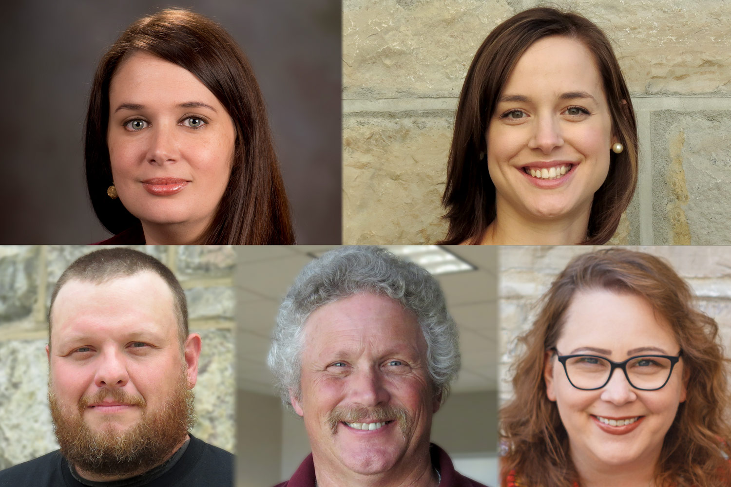 (top row, from left) Linda Hazelwood, Maggie Johnson; (bottom row, from left), Travis Lyons, Mark Montgomery, Kathy Wilkes