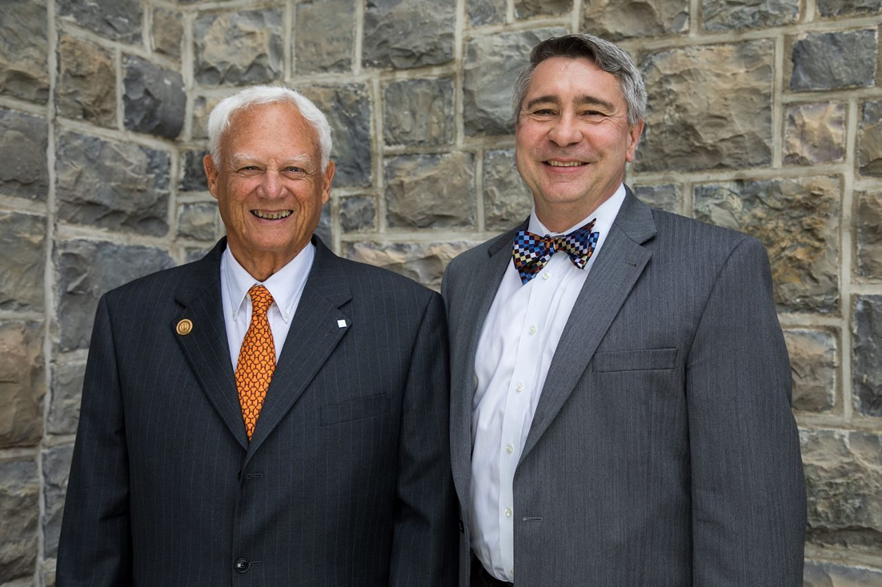 John Montague (left) and College of Engineering (COE) interim dean G. Don Taylor.