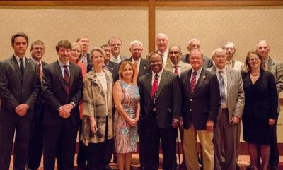 Academy of Distinguished Alumni members at the Distinguished Alumni banquet in April 2018