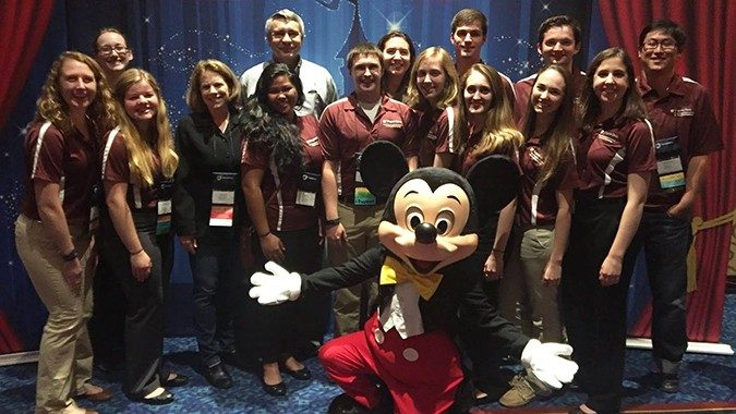 ISE students and faculty with Mickey Mouse at the 2016 Annual Conference & EXPO in Anaheim, CA at the Disneyland Resort.