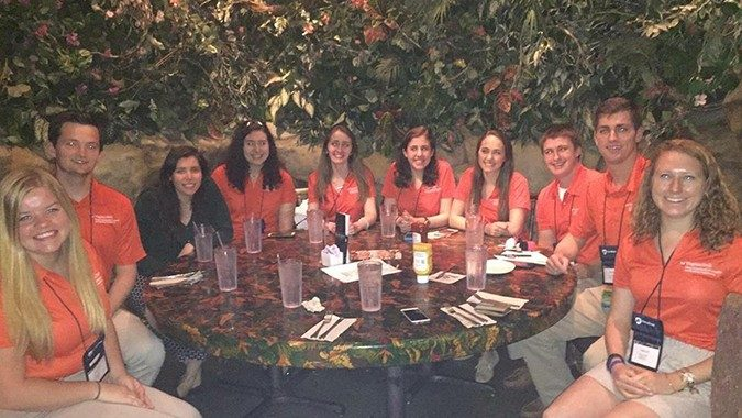 VT student attendees enjoyed a team unch at the Rainforest Cafe during the conference.