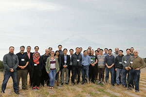 Invited attendees at the NII Shonan meeting on Perception in Augmented Reality in Japan, with Mt. Fuji as background.