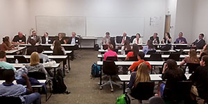 Members of the ISE Advisory Board conduct a Question & Answer session for ISE students.