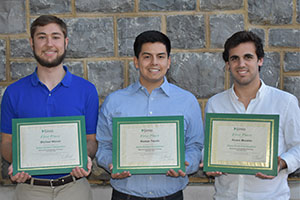 Simio Simulation Competition 1st place winning team. (from left) Michael Mason, Roman Tejada, Alvaro Morales.
