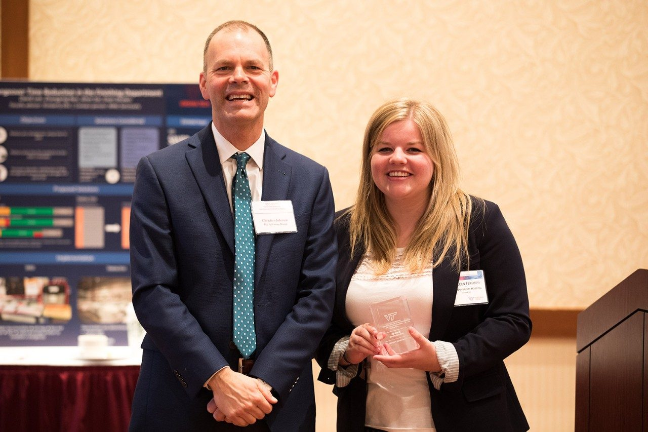 Performance Impact award to Team 20 (Colleen Ferlotti) and ISE Advisory Board chair Christian Johnson