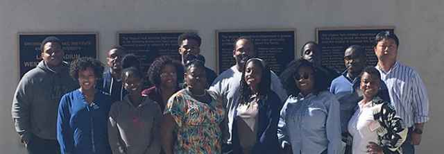Students and faculty from NC A&T University in front of the Lane Stadium
